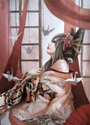 Oiran( kimono and paper cranes) by RINrumiKA
