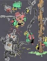 Mr Robo in trouble by DESIGNOOB