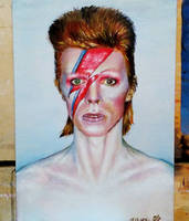 Ziggy Stardust Oil Portrait by OlyaGvozdeva