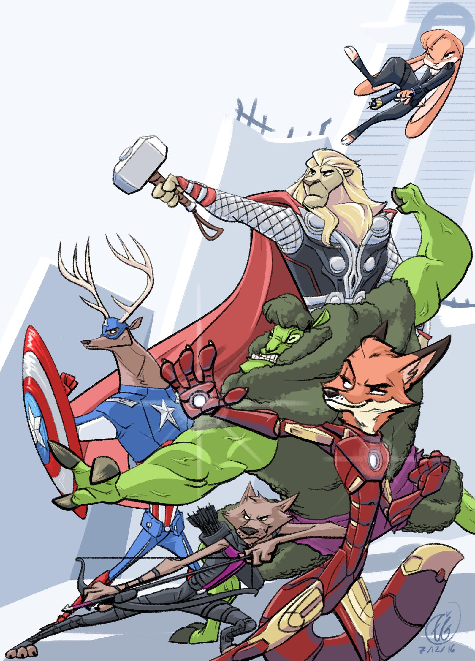 Furvengers - 'Zootopia's Mightiest Heroes' by phantomthepencil