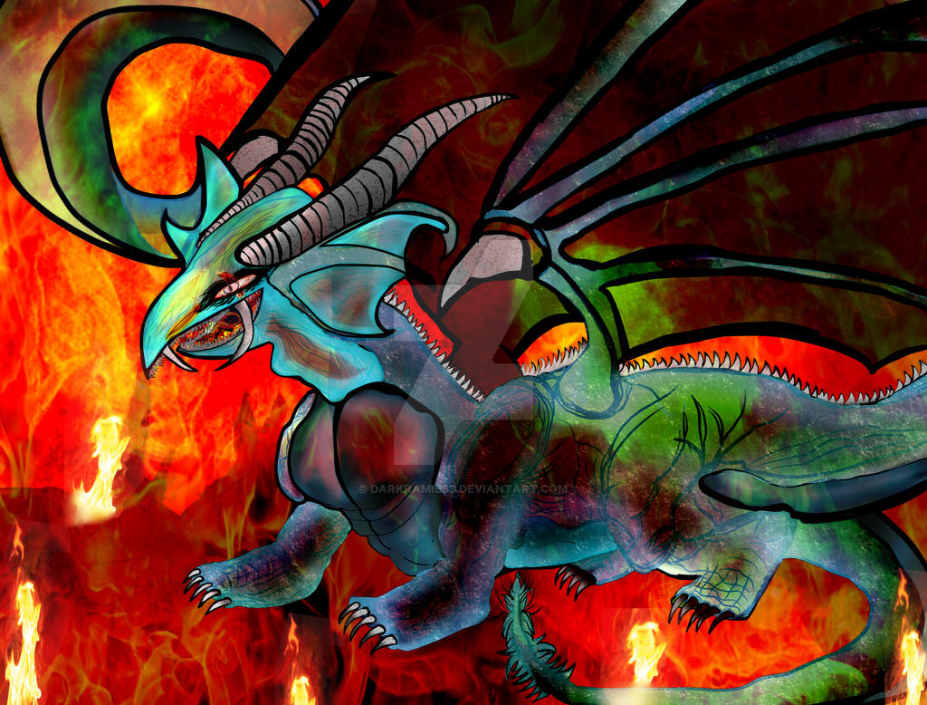 Timaeus the Dragon of flame of destruction by Darkramiess