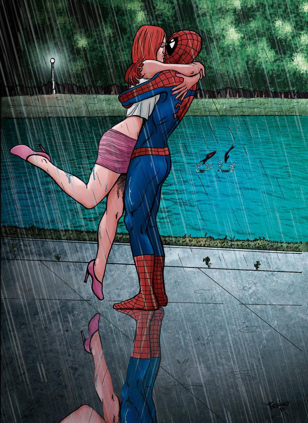 Spider and Mary in Rain. by Troianocomics