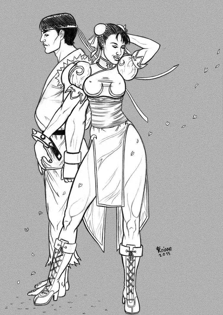 Chun Li and Ryu. by Troianocomics