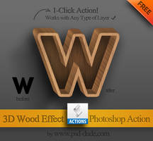 Free Photoshop Action - 3D Wood Effect by PsdDude