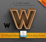 Free Photoshop Action - 3D Wood Effect