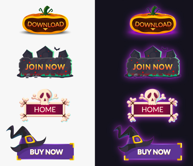 Halloween Vector Buttons PSD by PsdDude