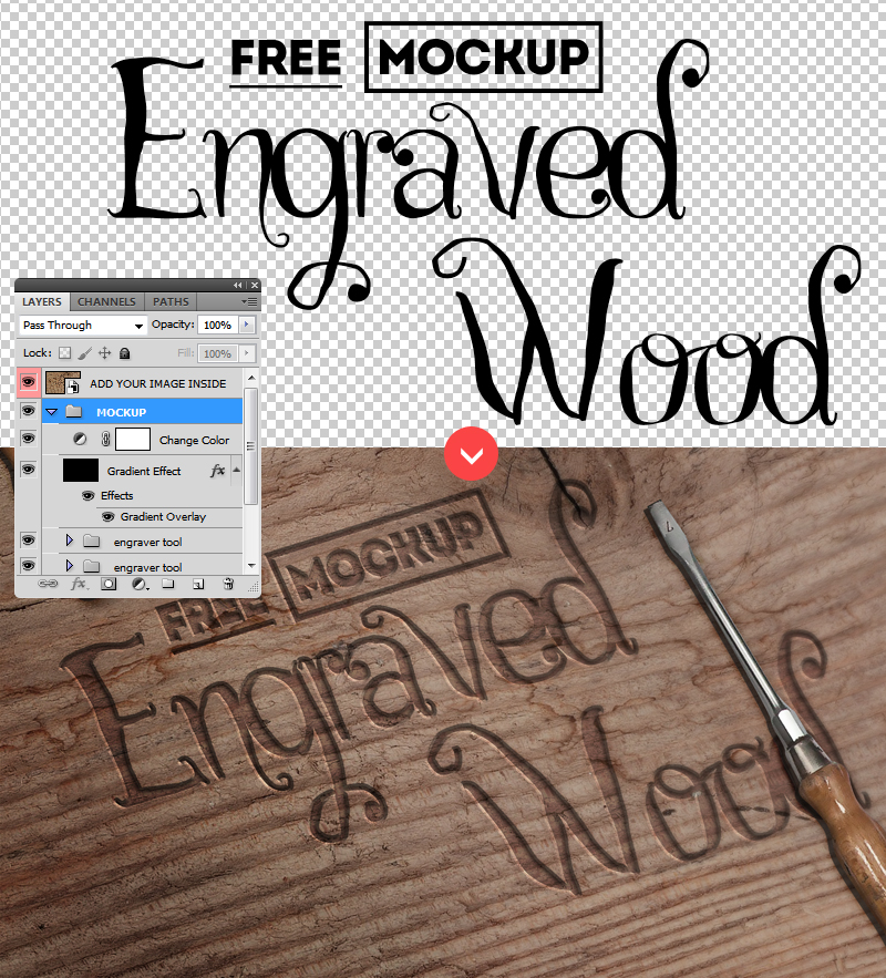 Carved Wood PSD FREE Mockup by PsdDude