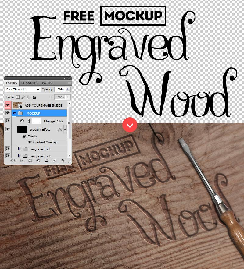 Carved Wood PSD FREE Mockup by PsdDude