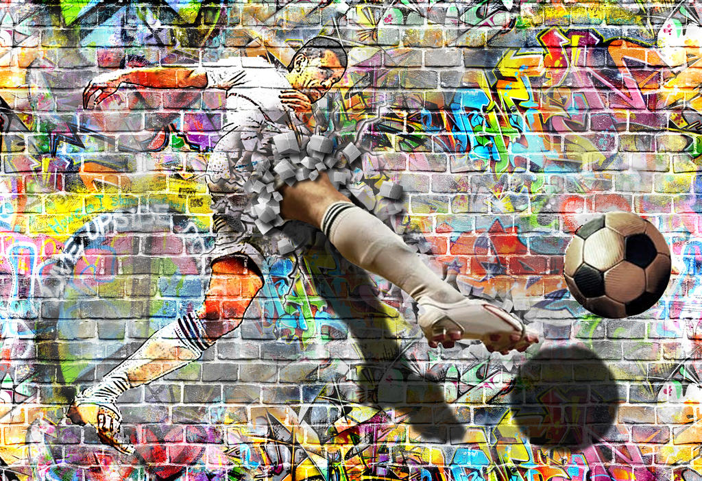 Football Player Graffiti with Pop Up by PsdDude