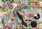 Football Player Graffiti with Pop Up