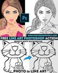 Line Art Action PhotoshopSupply Freebie