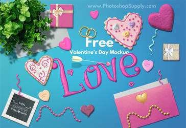 Valentines Day Mockup (FREE) by PsdDude