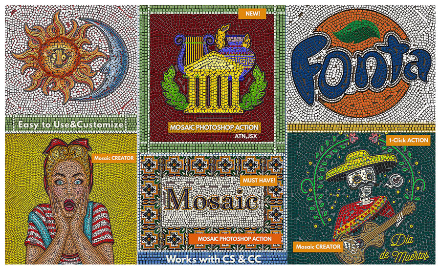 MOSAIC Photoshop Action by PsdDude