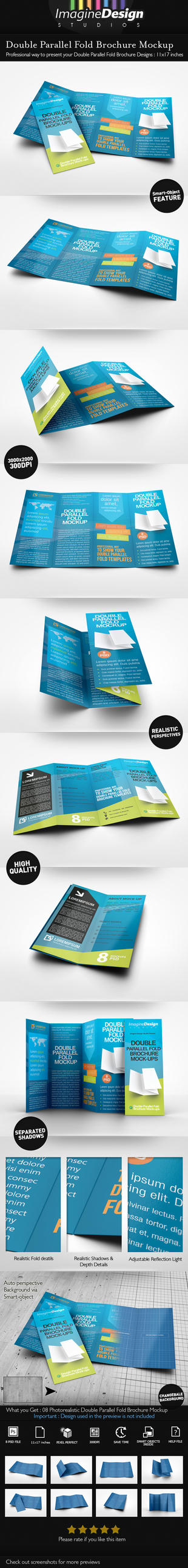 Double Parallel Fold Brochure Mockup by idesignstudio