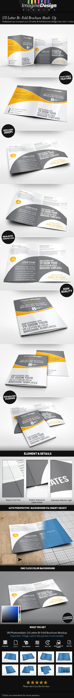 US Letter Bi-Fold Brochure Mock-Up by idesignstudio