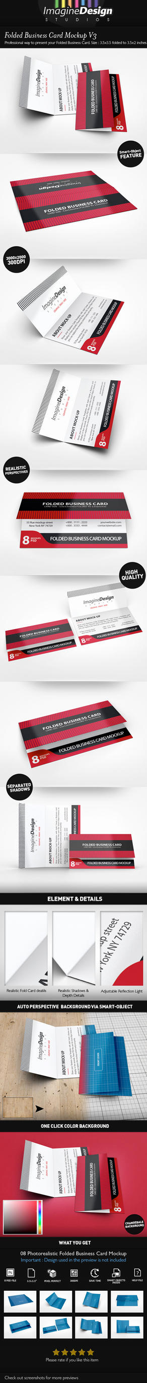 Folded Business Card Mockup V3 by idesignstudio