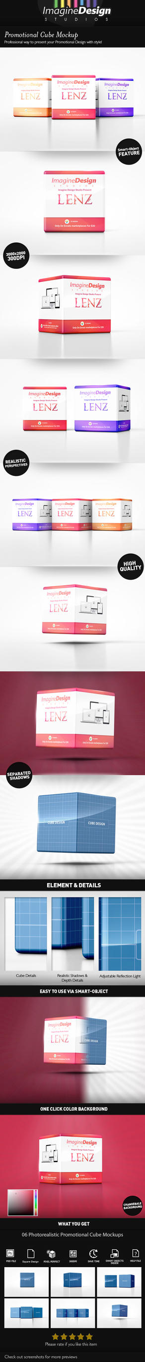 Promotional Cube Display Mockup by idesignstudio