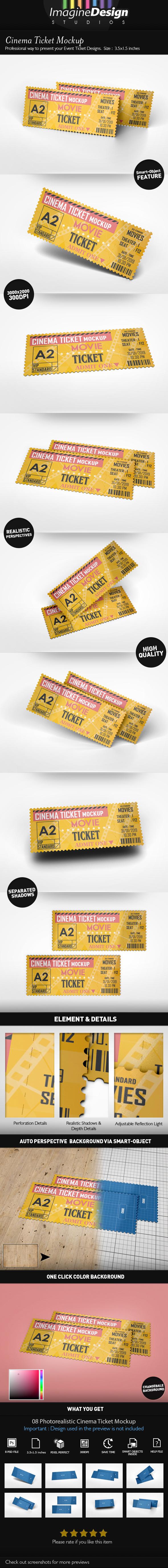Cinema Ticket Mockup by idesignstudio