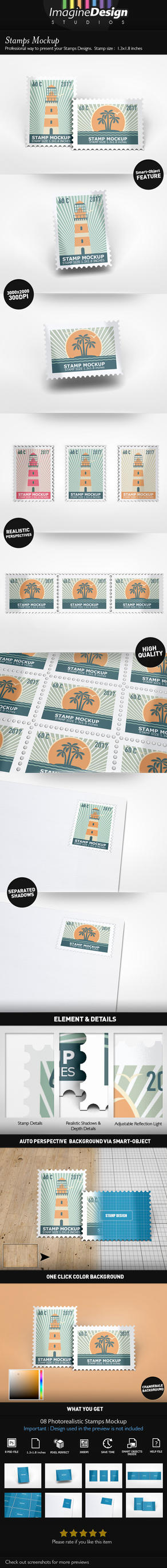 Stamps Mockup by idesignstudio