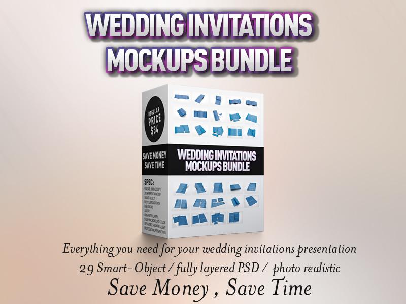 Wedding Invitations Mockups Bundle by idesignstudio
