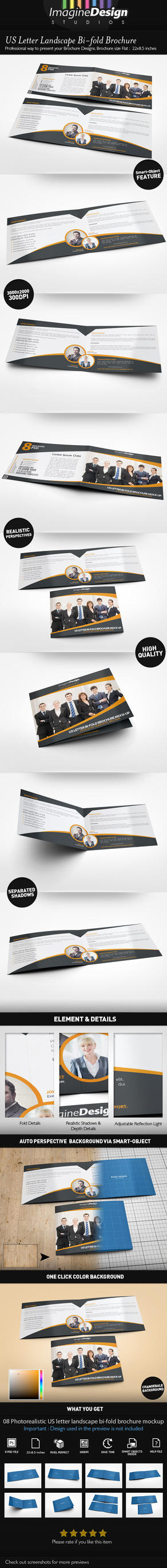 US Letter Landscape Bi-fold Brochure Mock-Up by idesignstudio