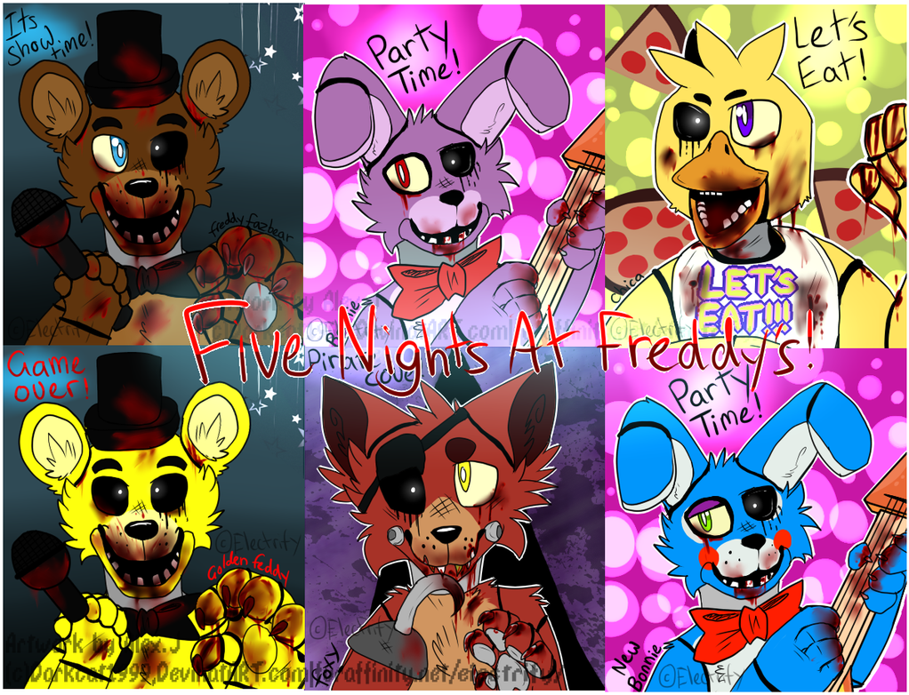 All five nights at freddys characters some gore by darkcat1999 on