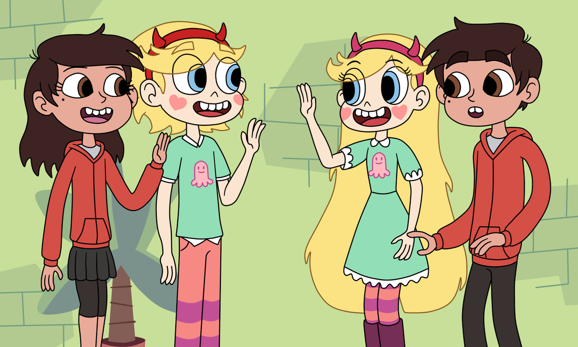 Comet and Marcia meet Star and Marco by Deaf-Machbot on DeviantArt