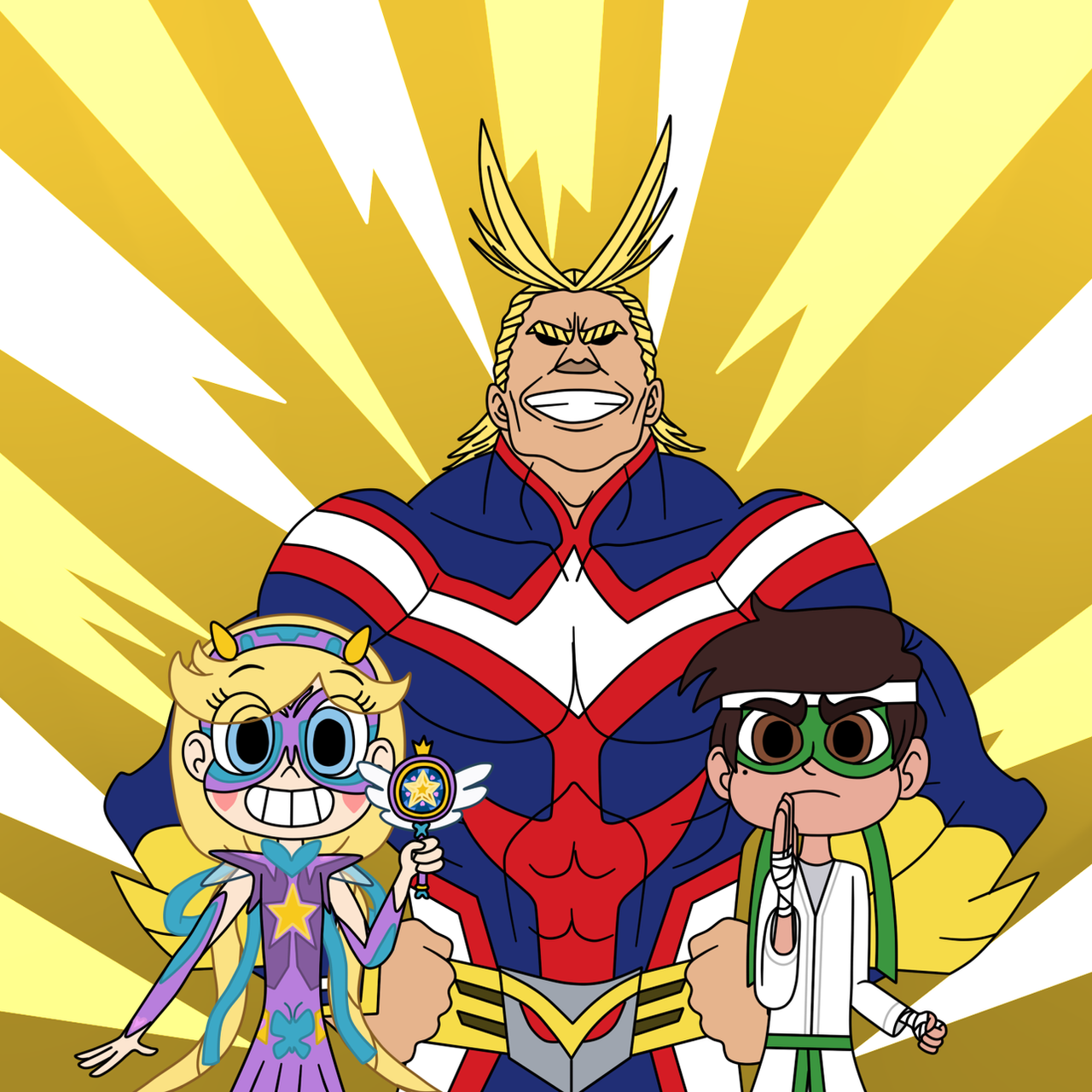 Anime Characters Vs Superheroes : Star and marco have superheroes to join all might by deaf
