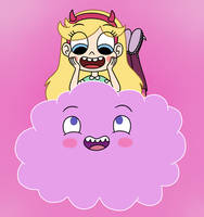 Star Butterfly rides on Cloudy by Deaf-Machbot