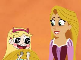 Star looks Rapunzel's hair is back! by Deaf-Machbot