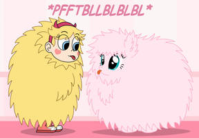 Star and Fluffle Puff in giant fuzzy balls by Deaf-Machbot