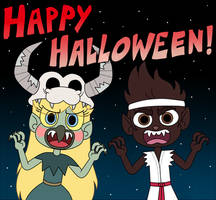 Lil Star and Marco are real monsters for Halloween by Deaf-Machbot