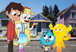 Star and Marco meet Gumball and Penny