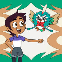 Luz and Rowlet wears a cloak of Shiny Decidueye