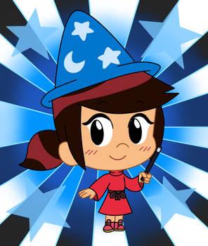 Chibi Molly wears a Sorceress costume