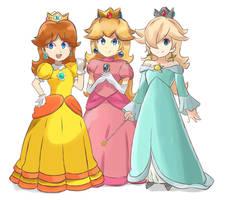 Super Mario Bros - Three Princesses by chocomiru02