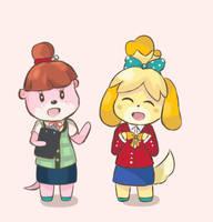 Animal Crossing - Isabelle and Lottie Costume Swap by chocomiru02