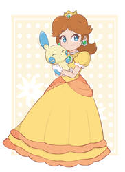 Princess Daisy And Minun by chocomiru02