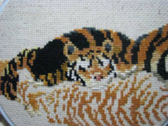 Back Tiger Cub - Tigers Counted Cross-Stitch WIP