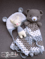 Snuggle blanket, baby bear beanie, rabbit toy ratt