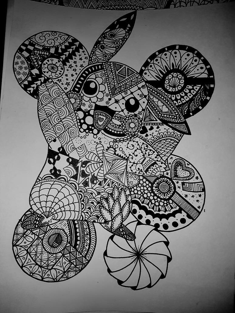 Pikachu Zentangle by MammaMoogle