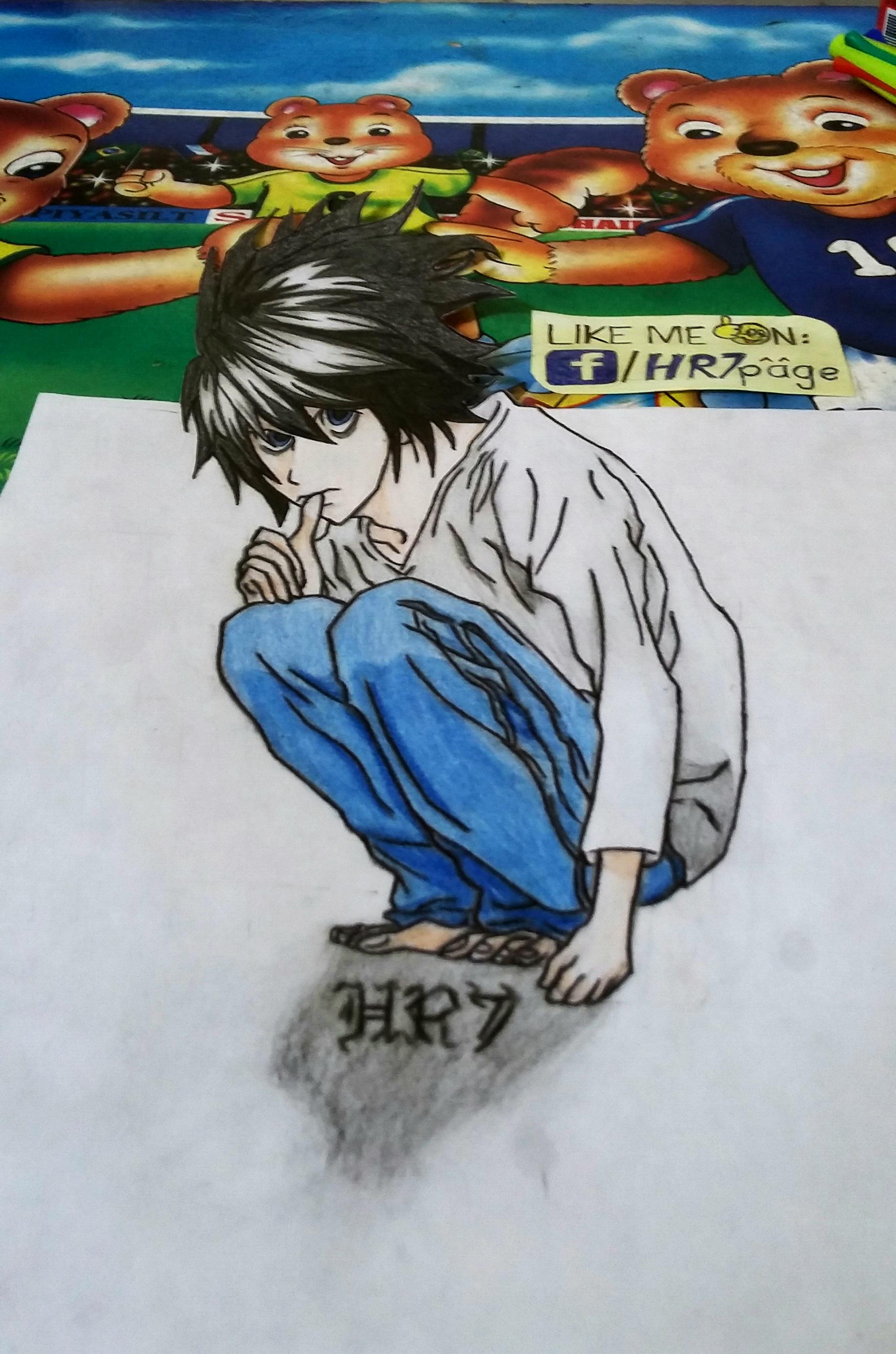 l lawliet 3d drawing by hr7xman on deviantart deviantart