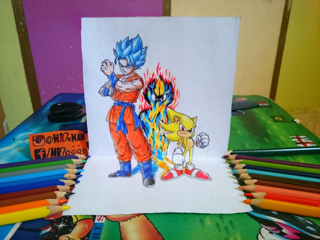 Super Sonic God 2 3d Drawing By Hr7xman On Deviantart