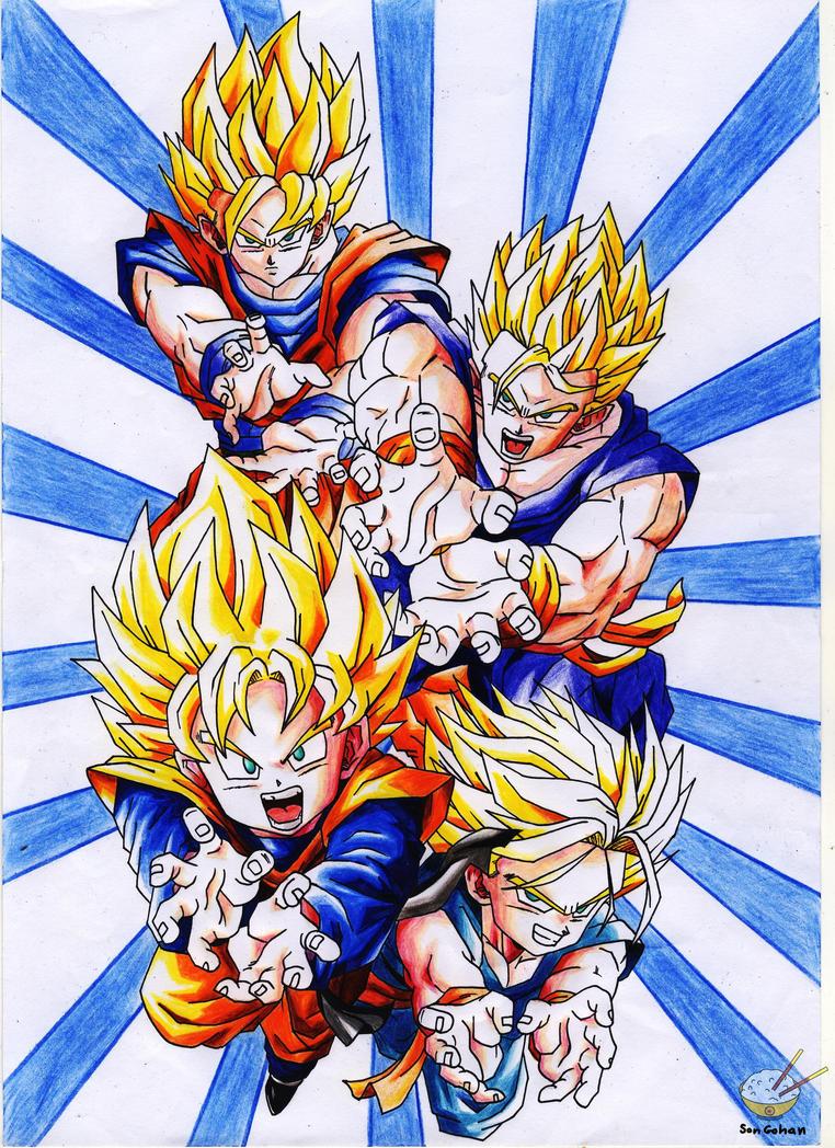 Dragon Ball - Goku, Goten, Trunks and Gohan by songohanart ...