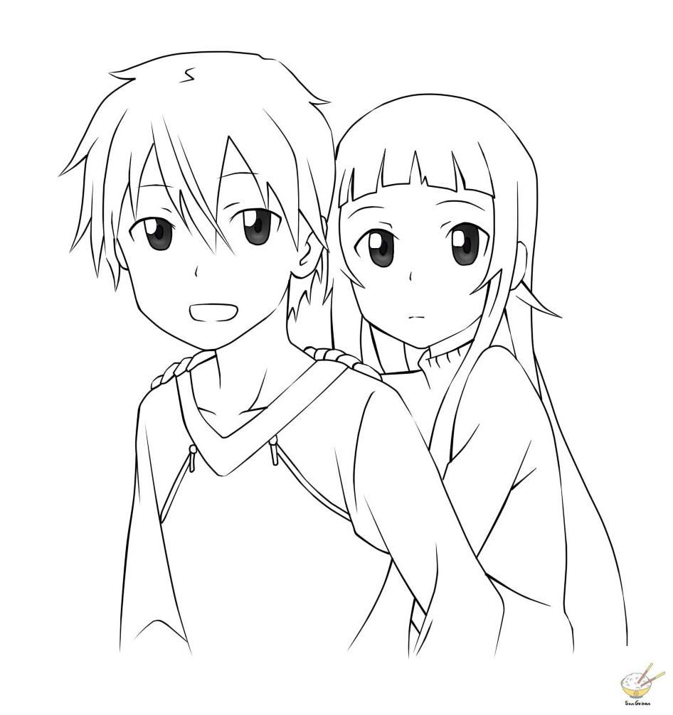 Sword art online kirito and yui by songohanart on deviantart for Sword art online coloring pages