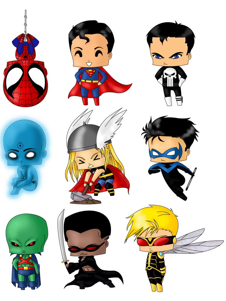 Super Y Cartoon Characters : Chibi heroes set by artwaste on deviantart