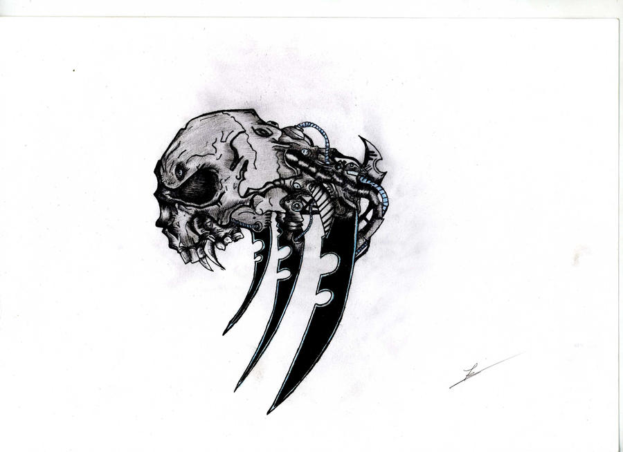 Biomech skull by santiims on deviantART