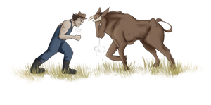 Pet and Owner - Bull