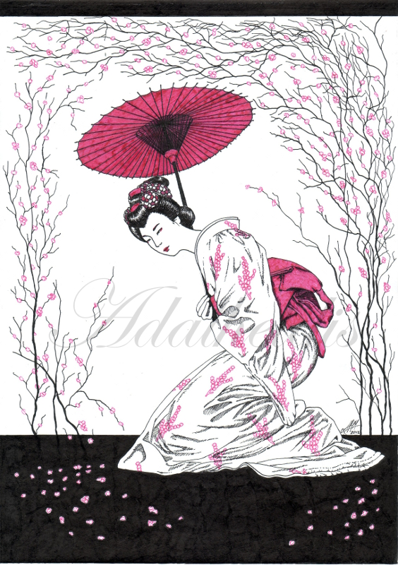 Spring: Cherry Blossom Geisha Dance by adalheidis