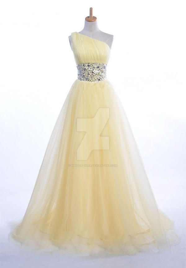Yellow Tulle Prom Dresses 94